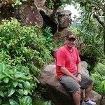 """Andy sitting on the Volcano Crater Rim """"dyke"""" wall of Mt. Liamuiga St. Kitts West Indies"""