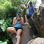 """Relaxing on the Volcano Crater rims' """"dyke wall"""" at Mt. Liamuiga St. Kitts West Indies"""