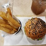 Beef Burger, Fries & Ice Lemon Tea