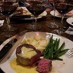 Perfect medium rare filet with flight of 3 wines