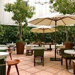 Outdoor courtyard dining. Enjoy breakfast here or in the adjacent lounge.