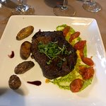 Ribeye and fingerling potatoes with chimichurri and pan blistered tomatoes