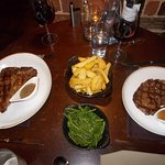 White bait, black pudding, pancetta and mushrooms, 16oz steak, 8oz steak accompanied by chips an