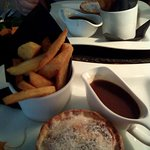 Chicken pie with chips and veg and gravy