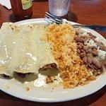 Menu, enchiladas, chicken quesadilla, and chips and salsa.