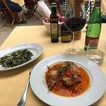Coniglio alla cacciatora (segundo) + sautéed esacarole with olives and pine nuts