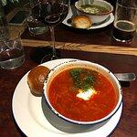 Red Borsch soup (front), Green sour Borsch (back)