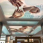 This is the ceiling in the lobby of the Hilton