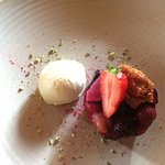 Summerfruits syrup pudding with clotted cream ice-cream