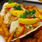 Fish Tacos with Spicy Wedges