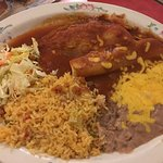 Combo with chile relleno, enchilada, rice and beans
