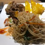 Lemon Chicken, Fried Vermicelli and Beef, Beef Satay