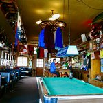 Toby's interior, with pool table and vintage oak bar