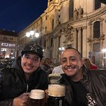 Father and Son enjoying a beer in beautiful Prague