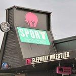 The Elephant Wrestler is easy to spot near Takapuna centre