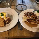 Eggs Benedict and waffles ! Huge portions and yummy for the great price you pay
