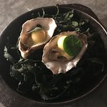 Läckra ostron som brynts i brinnande fett över öppen eld