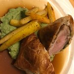 Brilliant sticky dessert, best Atlantic salmon, pork Wellington from Perth special, steak frites