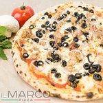 Тунно (Филе тунца, красный лук, оливки чёрные, оливковое масло, сыр моцарелла, фирменный пицца-с
