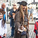Captain jack Sparrow and 2 young pirates