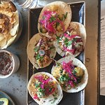Cauliflower, catfish and oyster tacos