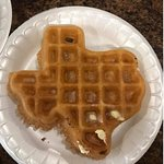 The Texas shaped waffles were a cute touch.