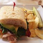 Bacon, lettuce, avocado, tomato turkey sandwich