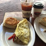 Vegetarian Omelette with biscuit
