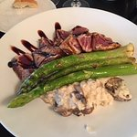 Tuna with Portobello Risotto and Asparagus