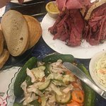 Large Pastrami, health salad, rye bread and cole slaw