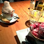 Housemade Coconut Raspberry Gelato, with a Cappuccino and Lemon Biscotti