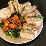 Chicken Salad Sandwich with a sweet potato side salad