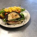 Half of the Turkey Club with half of the Cornbread Salad.