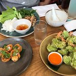 Tiger prawn cutlets coated in young green rice, Pork wonton and Grilled shrimp on sugarcane