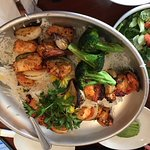 Chicken Kabob with Rice and Grilled Vegetables and Salad