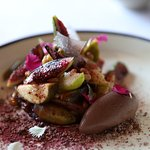 Delicious dessert of figs, quince and chocolate sorbet.