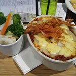 Lamb hot pot with parsnip crisps was yummy but the vegies were a little undercooked for me.