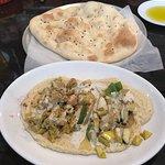 chicken/veggies over hummus
