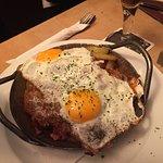 Amazing schnitzel and eggs in the potato