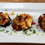 Crab-stuffed shitake mushrooms