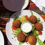 Falafel Balls with TZATZIKI (YOGHURT, CUCUMBER, GARLIC AND MINT DIP)