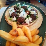 Lamb meatballs, flatbreads, chunky chips