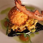 Our special scotch egg, served with black pudding and apple puree.
