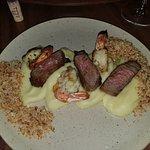 Carne e camarão