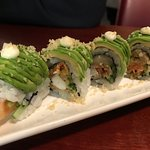 Dragon Roll - Prawn tempura, asparagus, spicy mayo topped with avocado