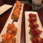 (left) Salmon bites - Crunchy rice patties topped with salmon tartar