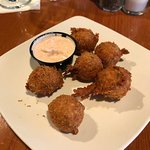 Crab fritters appetizer and delicious remoulade sauce.