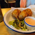 Fishcakes and pepper sauce
