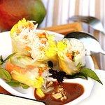 Mango roll and grilled shrimp mango salad