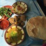 Stuffed falafel, falafel, ful, moutabel, salad
